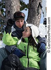 Teenage couple on a ski holiday