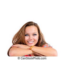 teenage dziewczyna, tło., nastolatek, biały