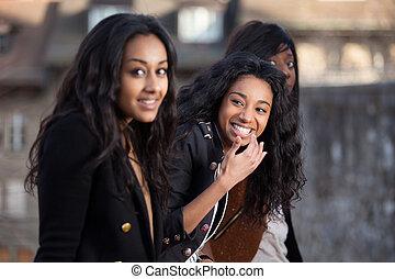 teenage dziewczyny, młody, amerykanka, afrykanin, portret, szczęśliwy