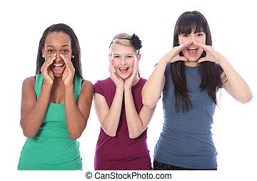 teenage dziewczyny, trzy, rozkrzyczany, prąd, mieszany, głośny, poza