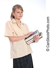 teenage, etiuda, szkoła, wysoki, student, czas, dziewczyna