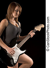 Teenage female rock guitarist