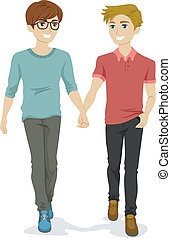 Teenage Gay Couple - Illustration of a Teenage Gay Couple...