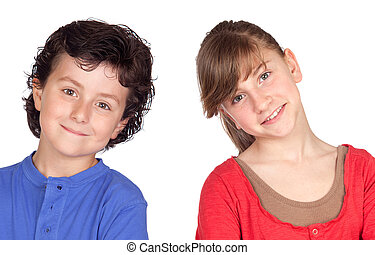 Teenage girl and little boy