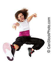 girl dancing hip-hop - Teenage girl dancing hip-hop and...
