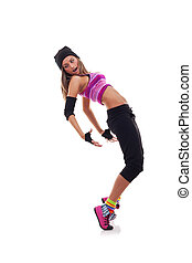 girl dancing hip-hop leaning on back
