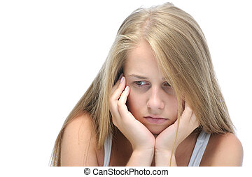 Teenage girl depressed - Teenage girl in a depressed state....