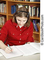 Teenage Girl Does Homework