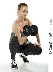Teenage girl doing fitness workout