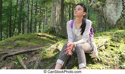 Teenage girl enjoying the nature