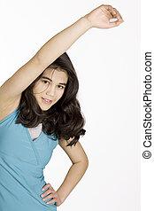 Teenage girl exercising