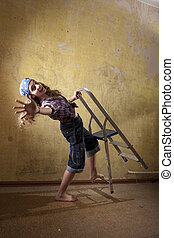 teenage girl falling from ladder