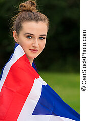 Teenage Girl Female Young Woman Wrapped in Union Jack Flag