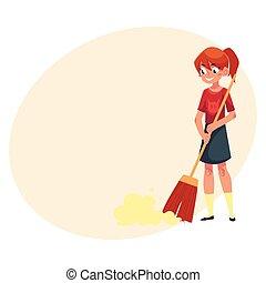 Teenage girl helping to clean house, sweeping floor with broom
