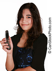 Teenage girl holding cellphone