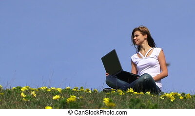 Teenage girl in a field