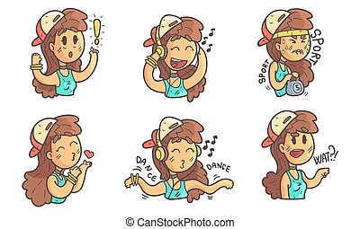 Teenage Girl in Baseball Cap with Different Facial Expressions Set Vector Illustration