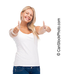 teenage girl in blank white t-shirt with thumbs up - happy...