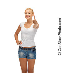 teenage girl in blank white t-shirt with thumbs up