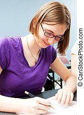Teenage Girl in Class