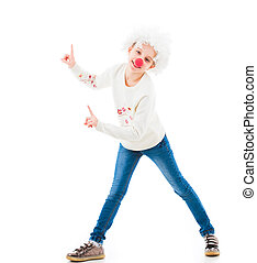 Teenage girl in clown wig pointing up