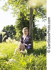 teenage girl in kimono