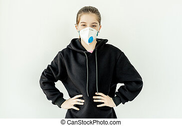 Teenage girl in medical mask
