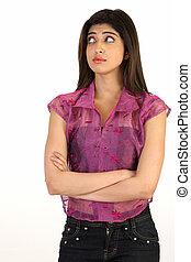 Teenage girl in pink dress
