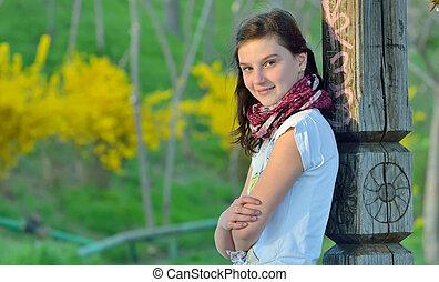 teenage girl in spring time
