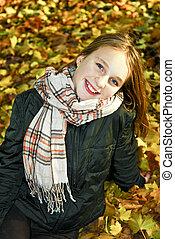 Teenage girl in the fall - Portrait of a beautiful teenage...