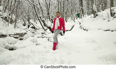 Teenage Girl in Winter Forest