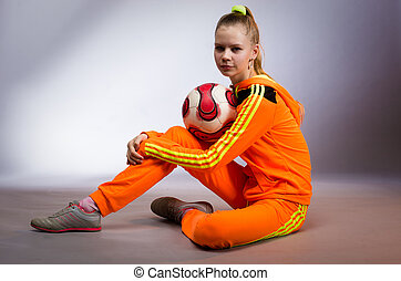 girl in yellow sportwear costume