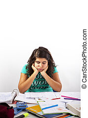 Homework - Teenage girl is desperated about her Homework