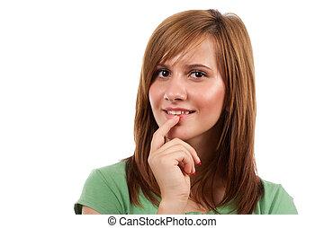 Teenage girl isolated on white