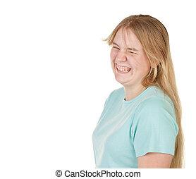 teenage girl joking and laughing