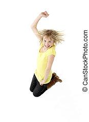 Teenage Girl Leaping In Studio
