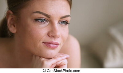 Teenage girl looking thoughtful, pensive attractive lady ...