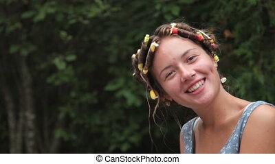 Teenage girl making funny face
