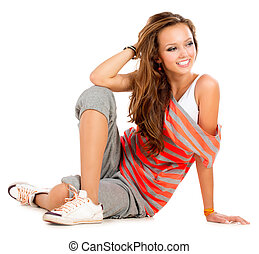 Teenage Girl on a White Background