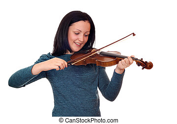 teenage girl play violin on white