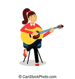 Teenage girl playing an acoustic guitar cartoon character...