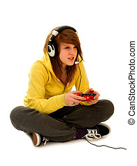 Teenage Girl With Gaming Device Playing Live Video Game on white