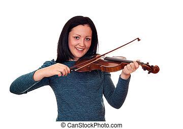 teenage girl playing violin