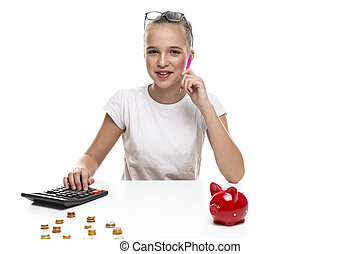 Positive Teenage Girl Posing With Coins, Calculator and Moneybox For Savings. Horizontal Image Composition