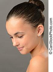 Teenage girl purity skin beauty looking down - Teenage girl...