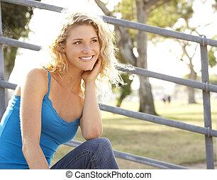 Teenage Girl Sitting On Steps