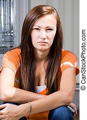 Teenage Girl Sitting Outside