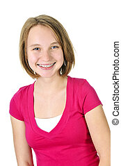 Isolated pretty teenage girl with braces smiling