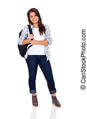 teenage girl standing on white background