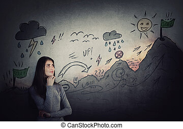 Teenage girl starting her life quest with obstacles. Self overcome climbing the imaginary career mountain with ups and downs, conquering, reaching goals. Difficult road to finish, achievement concept.